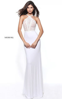 Ivory Sherri Hill 50998 Fitted Lace Beaded Long Prom Dress