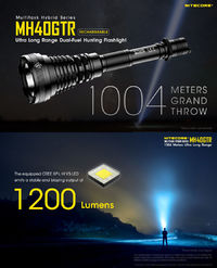 NITECORE MH40GTR XP-L HI V3 1200LM 6 Modes Tactical Tail Switch LED Flashlight Kit 18650 Battery