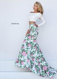 2016 Sherri Hill 50433 Off The Shoulder Floral 2 Pc Gown