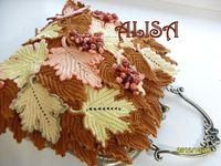 Irish crochet leaf purse