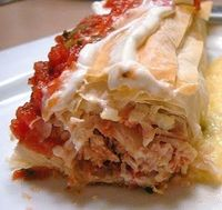 Baked Chicken Phyllo Chimichangas 8oz boneless skinless chicken breast 6 sheets phyllo dough 1 cup salsa (your favorite-- verde works too!) 1 cup bell peppers of your choice, seeded and chopped