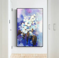 Abstract floral painting Original palette knife white canvas Painting on canvas framed Wall Art wall Pictures Home Decor $79.00