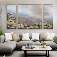 3 pieces wall art Abstract Acrylic Painting On Canvas Original art Cuadros abstractos Gold art black Large painting Wall Pictures Home Decor $256.00