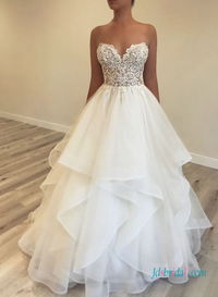 H0437 Sweetheart lace bodice layers organza ball gown wedding dress More Details:https://tinyurl.com/5at7wrkt #2021weddingdresses #organzaweddingdress #bridaldress#weddingdress #weddinggowns #weddinginspirations #bridalgown #2021bridaldress #weddings #w...