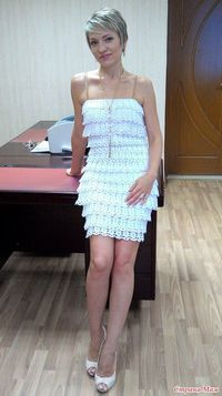 Fun -my style crochet white dress �™�LCD-MRS�™� with basic diagram. I love it!!!