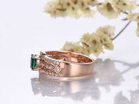 5MM ROUND CUT LAB EMERALD AND DIAMOND ENGAGEMENT RING 14K ROSE GOLD ART DECO WEDDING BAND