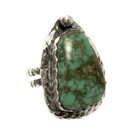 Chunky Vintage Style Sterling Silver Variscite Gemstone Ring Size 9 $71.10