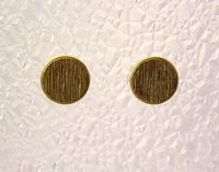 Gold Striped Button Magnetic Non Pierced Clip Earrings $35.00 Designed by LauraWilson.com