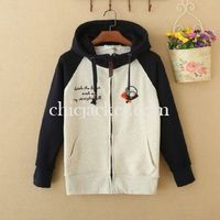 Navy White Long Sleeve Cheap Couple Baseball Jacket