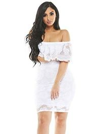 Made in USA - MESMER Rose Lace Off-Shoulder Bodycon Minidress $49.98