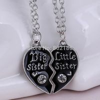 2P Sisters Pendant Necklace Broken Heart Puzzle Jewelry Unique Personalized Gifts Charms Couple Necklaces for Sister $19.48
