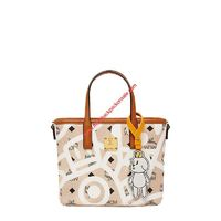 MCM MINI X EDDIE KANG VISETOS TOP ZIP SHOPPER TOTE IN BEIGE