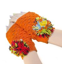 Orange warm fingerless glovers with bunbon, as warm Christmas eco gift for wife. Knit winter accessories. $33.00