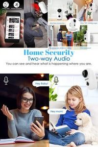 Mascarry Wireless WiFi Home Security Camera System with PIR Motion Detection, Rechargeable Battery Powered, Wall Mount,Indoor/Outdoor, HD Video, 2-Way Audio Night Vision & SD Card Socket by MASCARRY'�'�' More