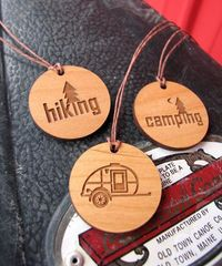 Teardrop trailer, hiking or camping wooden circle pendant. Five dollars. Ready to ship. Campsite. Travel. Road Trip. Touring.