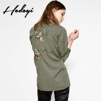 Vogue Simple Vintage Solid Color Embroidery Slimming Floral Fall 9/10 Sleeves Blouse - Bonny YZOZO Boutique Store