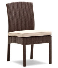 Strathwood Griffen All-Weather Wicker Dining Armless Chair, Dark Brown, Set of 2