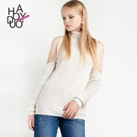 2017 spring New Fashion Sexy Strapless turtleneck pullover solid color sweater - Bonny YZOZO Boutique Store