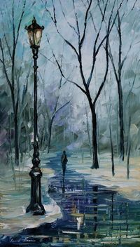 Icy Path - Palette Knife Oil Painting On Canvas By Leonid Afremov