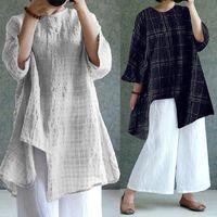 ZANZEA Fashion Women Vintage Linen Shirt 2018 Summer Blouse Long Sleeve Plaid Split Casual Party Baggy Asymmetric Tops Plus Size $30.88