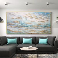 Gold art Abstract Acrylic painting on canvas Original art blue painting large wall art wall Picture home Decor caudro abstracto hand painted $161.25