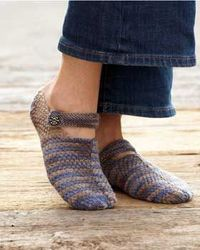 With this free slipper knitting pattern, create adorable mary-jane style slippers to wear around the house. A button closure completes these stylish knit slippe