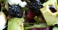 Berry Summer Salad with Goat Cheese or Feta and Avocado - via