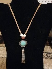 Turquoise Pendant with Silver Chain Tassel Necklace $5.00