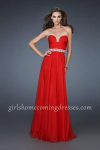 Affordable Chiffon A-line Strapless Red Homecoming Dresses 2014 With Pleated Bodice