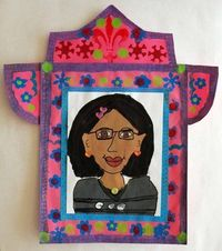 Self Portraits in Frida Kahlo's style in Nicho Frame