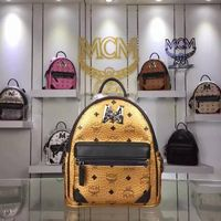 MCM Small Stark M Lion Backpack In Gold