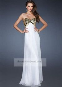 Long White Gold Sweetheart Beaded Prom Dress 2014