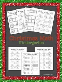 Christmas Morning Work Math packet. 7 worksheets to address counting on, missing numbers, number sequences, and tens frames. 0-20 and 0-100 included. Great for Kindergarten.