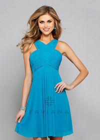 Sexy A-line Halter Neck Ruched Criss-cross Blue Lagoon Bridesmaid Dress