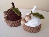Baby Brown or White Acorn Hat Newborn 3 to 6 Months by MadeBySvea, $22.00
