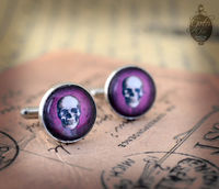 "Cufflinks - Gothic- Steampunk ""Purple SKULL"" - vintage style - hand made - Gift for Him - $21.00"