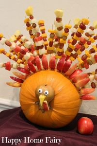 Looking to add a little awesome to your Thanksgiving table this year? How about a Fruit Kabob Turkey?! :-) I wish I could tell you that I made this masterpiece,