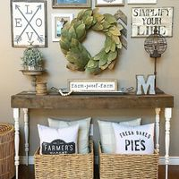 Living room console table. Farmhouse style! See this Instagram photo by