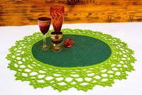 Oval green crochet doily, as burlap Christmas table runner. Knit anniversary gift for wife. Farmhouse table overlay. 21.65*19.69 in $35.00