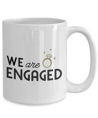 Summer wedding we are engaged gift white ceramic coffee mug $15.95
