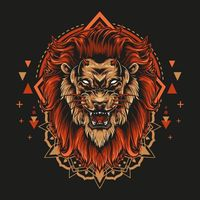 Devil lion with angry face and mandala geometry illustration style in black background | Premium Vector.