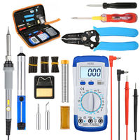 LIUMY 10Pcs 60W 110V Electronic Solder Iron Adjustable Temperature Welding Tools Kit with Multimeter + Plier