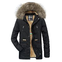 Men Winter Warm Hooded Zipped Thick Solid Fleece Coat Cotton-padded jacket $106.64