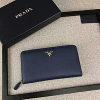Prada 1M1188 Lettering Logo Saffiano Leather Wallet In Blue