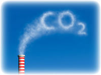 Carbon dioxide is being released into the air.