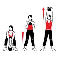 SNATCH PULL/PRESS Grab a kettlebell and stand with your feet shoulder-width apart, toes turned out about 45 degrees. Place the kettlebell on the floor between your feet. Stand up and lift the weight to chest height. Grab the sides of the handle and push t...