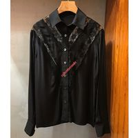 Celine French Collar Loose Shirt In Silk And Lace Black