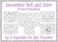 November Roll & Color Free Printables