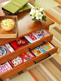 Board games in table drawers