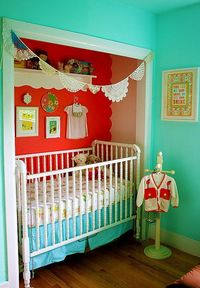 This idea is genius! Putting the crib in the closet is a space saver! And screw all that. Just love the colors.